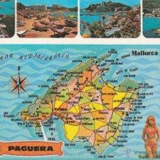 Postales: Nº 13012 POSTAL PAGUERA MALLORCA MAPA. Lote 45593909