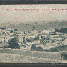 Postales: PALMA DE MALLORCA - VISTA DEL TERRENO Y ENTRADA AL PUERTO - P2829. Lote 45602391