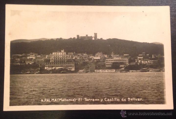 PALMA. MALLORCA. EL TERRENO Y CASTILLO DE BELLVER. HOTEL REINA VICTORIA. (Postales - España - Baleares Antigua (hasta 1939))