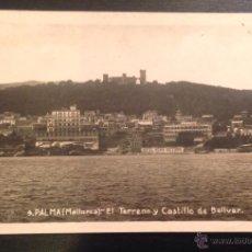 Postales: PALMA. MALLORCA. EL TERRENO Y CASTILLO DE BELLVER. HOTEL REINA VICTORIA. . Lote 46126457