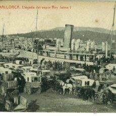 Cartes Postales: POSTAL PALMA DE MALLORCA LLEGADA DEL VAPOR REY JAIME I. THOMAS SIN CIRCULAR. Lote 46460942