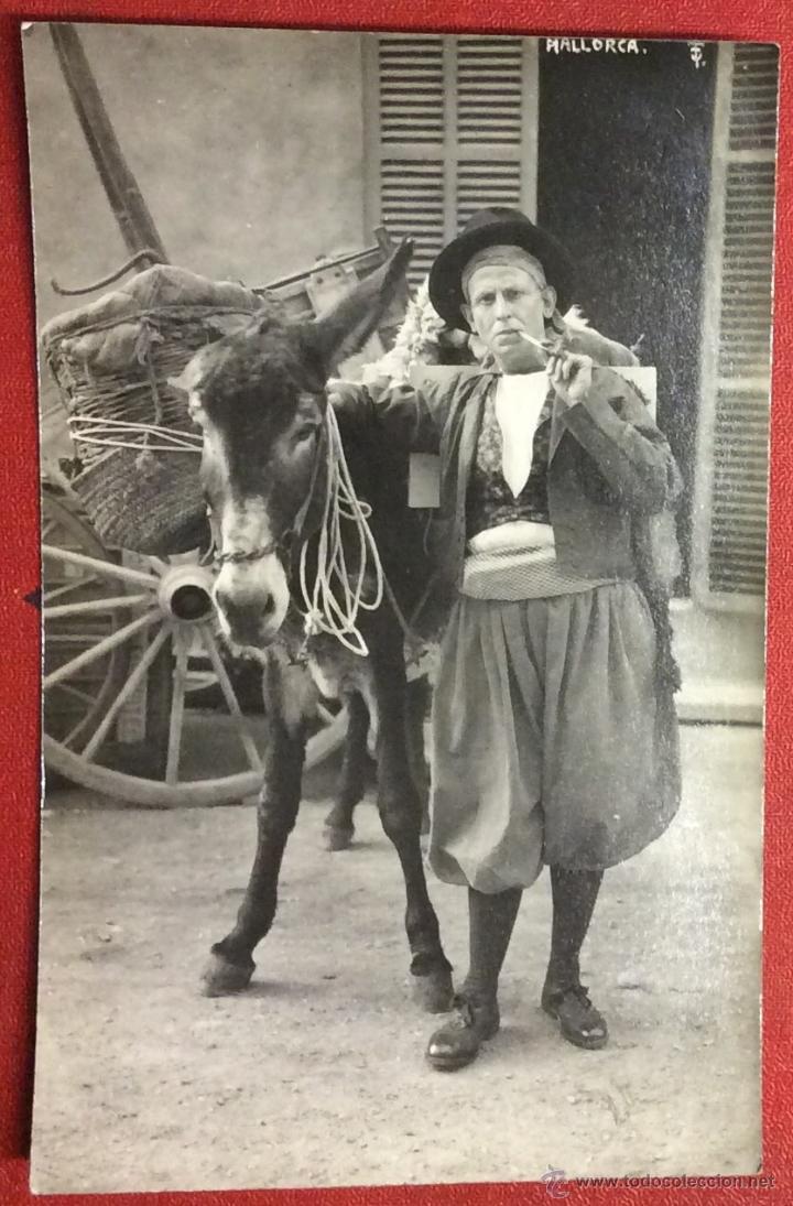 MALLORCA. TIPO DEL PAÍS. CON BURRO. POSTAL FOTOGRÁFICA. TRUYOL. (Postales - España - Baleares Antigua (hasta 1939))