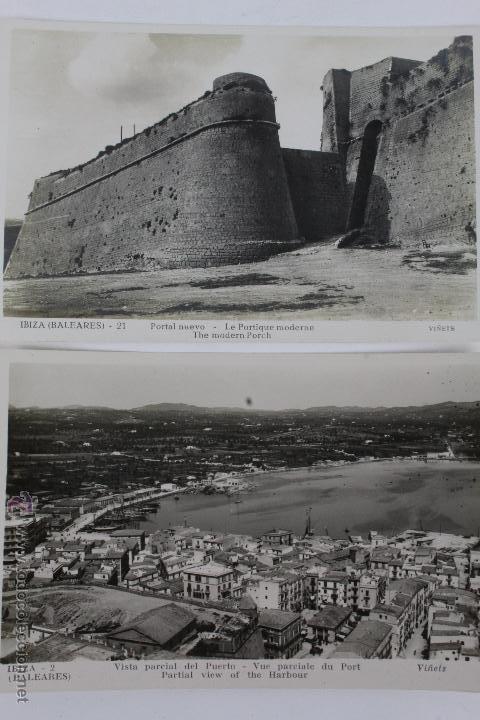 P-1195. IBIZA.DOS POSTALES PUERTO Y PORTAL NUEVO.VIÑETS. AÑOS 50. (Postales - España - Baleares Moderna (desde 1.940))