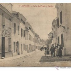 Postales: MAHON Nº 17 .- CALLE PRIETO Y CAULES .- FOTO J. GARRIGA .- EDICION JOSE PONS . Lote 50108950