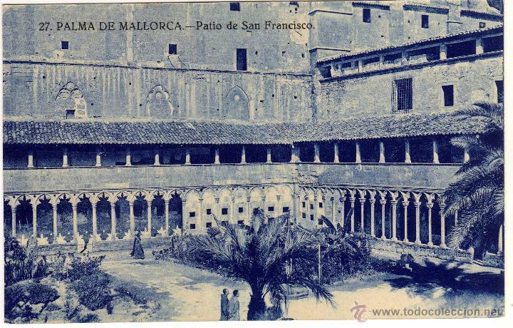 PRECIOSA POSTAL - PALMA DE MALLORCA - PATIO DE SAN FRANCISCO - AMBIENTADA (Postales - España - Baleares Antigua (hasta 1939))