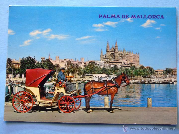 POSTAL DE MALLORCA. AÑOS 1968. PALMA, BAHÍA, LONJA, CATEDRAL, COCHE DE CABALLOS. 105 (Postales - España - Baleares Moderna (desde 1.940))