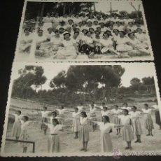 Postales: EL ARENAL PALMA DE MALLORCA 2 POSTALES FOTOGRAFICAS GRUPO JOVENES SECCION FEMENINA GIMNASIA AÑOS 40. Lote 51789655