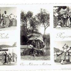 Postales: PS6574 MALLORCA 'BAILES REGIONALES. OLIVO MILENARIO'. FOTO BALEAR. CIRCULADA. 1943. Lote 55684116