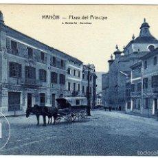 Postales: PRECIOSA POSTAL - MAHON (MENORCA) - PLAZA DEL PRINCIPE - CARROS TIRADOS POR MULOS. Lote 56902020