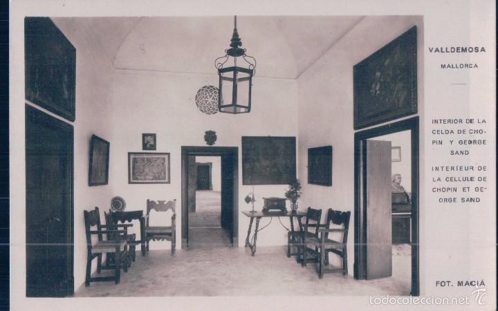 POSTAL VALLDEMOSA.- INTERIOR DE LA CELDA DE CHOPIN Y GREGORI SAND. FOTO MACIA (Postales - España - Baleares Antigua (hasta 1939))