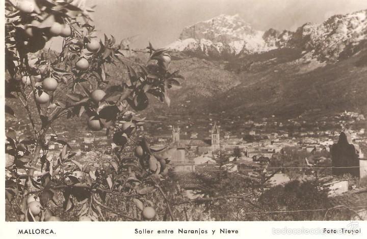 POSTAL DE MALLORCA SOLLER ENTRE NARANJOS Y NIEVE 12/100 (Postales - España - Baleares Moderna (desde 1.940))
