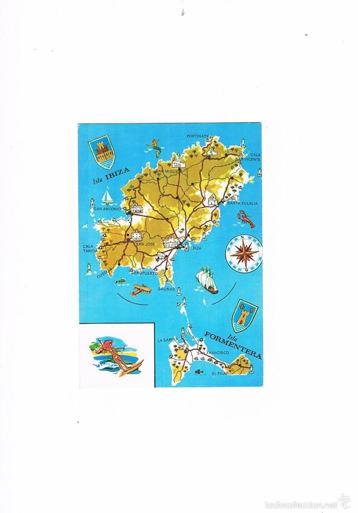 POSTAL ANTIGUA IBIZA SIN CIRCULAR MAPA DE IBIZA Y FORMENTERA (Postales - España - Baleares Moderna (desde 1.940))