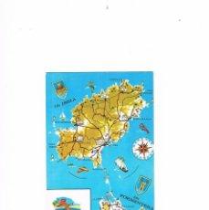 Postales: POSTAL ANTIGUA IBIZA SIN CIRCULAR MAPA DE IBIZA Y FORMENTERA. Lote 58943315