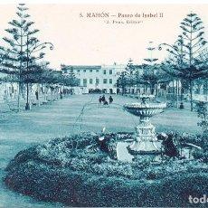 Postales: PS6812 MAHÓN 'PASEO DE ISABEL II'. J. PONS. SIN CIRCULAR. AÑOS 30. Lote 61476311