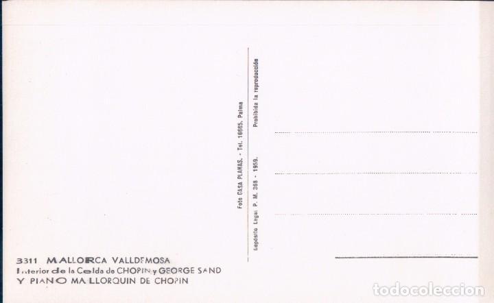 Postales: Postal Mallorca. Valldemosa. Interior de la celda de Chopin y George Sand. El piano. Planas 3311 - Foto 2 - 93711510