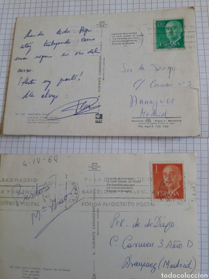 Postales: Lote 2 postales circuladas Mallorca años 60 - Foto 2 - 94377595