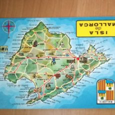 Postales: MAPA TURÍSTICO ISLA DE MALLORCA ( BALEARES), FOTO CINE CASA PLANAS. Lote 98704503