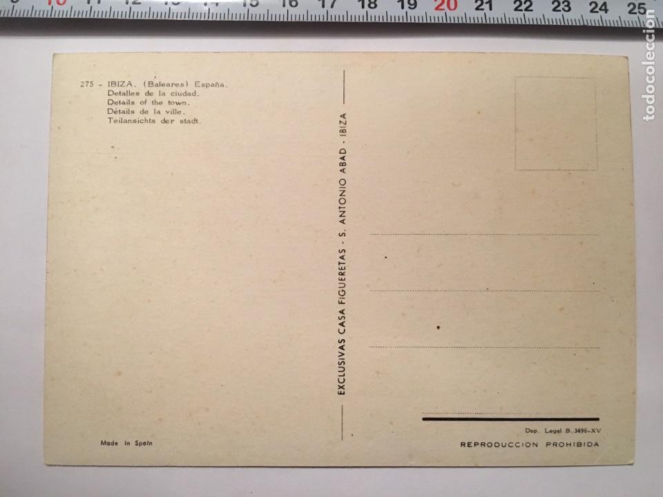 Postales: Postal. 275. IBIZA (BALEARES). Detalles de la Ciudad. CASA FIGUERETAS. H. 1960 - Foto 2 - 99767279
