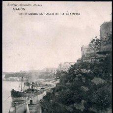 Postales: POSTAL BALEARES MAHON VISTA DESDE EL PASEO DE LA ALAMEDA . REMIGIO ALEJANDRE HAUSER Y MENET CA 1910. Lote 100244811