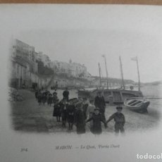 Postales: MAHON (MENORCA) LE QUAI PARTIE OUEST. BUQUE ESCUELA FRANCES DUGUAY TROUIN. AÑO 1903. Lote 100537175