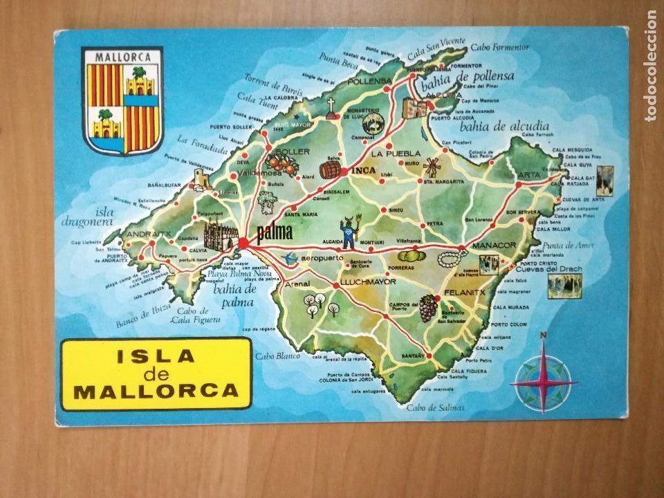 mapa turístico isla de mallorca (baleares), fot   Comprar Postales