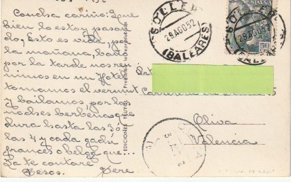 Postales: PALMA DE MALLORCA CASTILLO DE BELLVER FOTO TRUYOL CIRCULADA A VALENCIA DESDE SOLLER EN 1952 C-7 - Foto 2 - 108317215