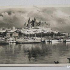 Postales: POSTAL ANTIGUA PALMA DE MALLORCA DETALLE DEL PUERTO CATEDRAL PALACIO DE LA ALMUDAINA ESCRITA EN 1944. Lote 109624191