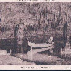Postales: POSTAL MALLORCA - CUEVAS DEL DRACH - GONDOLA EN EL LAGO MARTEL - HUECOGRABADO RIEUSSET - CIRCULADA. Lote 113051615