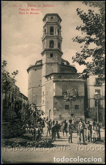 POSTAL PALMA DE MALLORCA PLAZA DEL MERCADO . AM NO. 52 . CA AÑO 1905 (Postales - España - Baleares Antigua (hasta 1939))