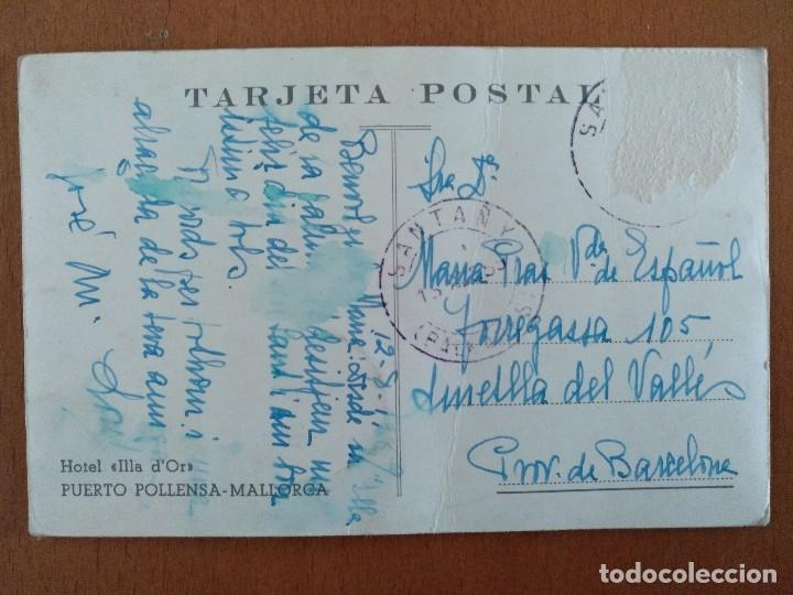 Postales: POSTAL HOTEL ILLA DOR PUERTO DE POLLENSA MALLORCA CIRCULADA 1959 - Foto 2 - 117200999