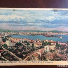 Postales: PALMA DE MALLORCA - LA CIUDAD Y EL PUERTO DESDE LA BONANOVA - EDICIONES MIR - CIRCULASA 1940. Lote 126991899