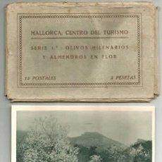 Postales: BLOC 12 POSTALES ALBUM CARNET MALLORCA OLIVOS Y ALMENDROS EN FLOR ED. CENTRO DEL TURISMO 1A SERIE . Lote 131138652
