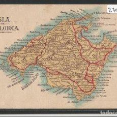 Postales: MAPA DE LA ISLA DE MALLORCA - PUBLICIDAD ANTONIA ESTEVA FABRICA DE CONSERVAS DE FRUTAS - P27079. Lote 134718082