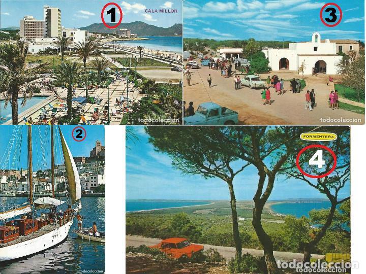 LOTE DE 4 POSTALES DE MALLORCA, IBIZA Y FORMENTERA AÑOS 70 (Postales - España - Baleares Moderna (desde 1.940))