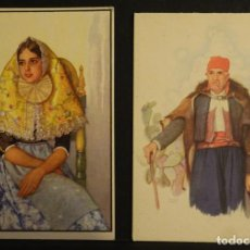 Postales: 2 POSTALES DE PERSONAJES DE MALLORCA. MARGALIDA Y VIEJO PAYES. ACUARELAS DE ERWIN HUBERT. Lote 138862230