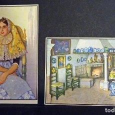 Postales: 2 POSTALES DE PERSONAJES DE MALLORCA. MARGALIDA Y HOGAR TIPICO. ACUARELAS DE ERWIN HUBERT. Lote 138862502