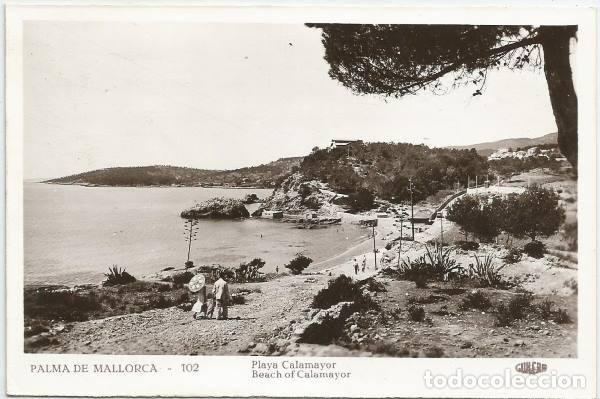 POSTAL PALMA DE MALLORCA PLAYA CALAMAYOR ED. GUILERA N° 102 (Postales - España - Baleares Moderna (desde 1.940))