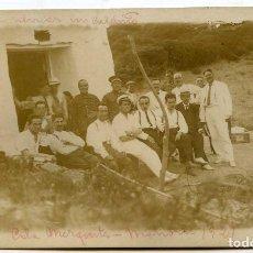 Postales: MAHÓN, MENORCA, CALA MEZQUITA 1921. POSTAL FOTOGRÁFICA, GRUPO DE MILITARES. Lote 144637510