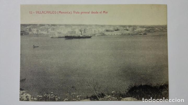 POSTAL VILLACARLOS-MENORCA, VISTA GENERAL DESDE EL MAR, Nº 12 (Postales - España - Baleares Moderna (desde 1.940))