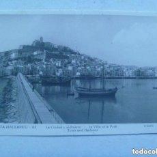 Postales: POSTAL DE IBIZA : LA CIUDAD Y EL PUERTO . CIRCULADA EN 1941 CON SELLO DE FRANCO. Lote 147559630