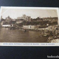 Postales: PALMA DE MALLORCA HOTEL REINA VICTORIA Y CASTILLO DE BELLVER. Lote 153733146