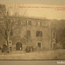 Postales: POSTAL SOLLER (BALEARES) ENTRADA A LA ESTACION Y GRAN HOTEL SIN CIRCULAR. Lote 165130822