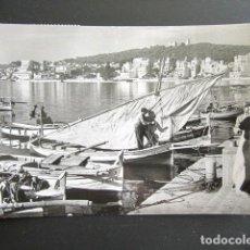 Postales: POSTAL MALLORCA. PALMA. DETALLE DEL PUERTO AL FONDO EL TERRENO. CIRCULADA. AÑO 1958. . Lote 169218600