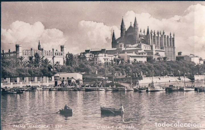 POSTAL PALMA - MALLORCA - LONJA Y CATEDRAL - ROTGER - ZERKOWITZ 537 (Postales - España - Baleares Antigua (hasta 1939))