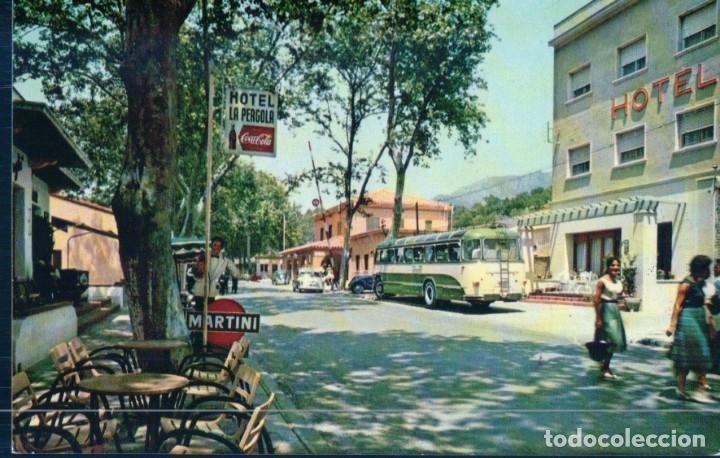 POSTAL DE GERONA - LA JUNQUERA HOTEL LA PÉRGOLA Y ADUANA. PUBLICIDAD MARTINI COCA COLA - 2046 BOSCH (Postales - España - Baleares Moderna (desde 1.940))
