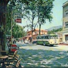 Postales: POSTAL DE GERONA - LA JUNQUERA HOTEL LA PÉRGOLA Y ADUANA. PUBLICIDAD MARTINI COCA COLA - 2046 BOSCH. Lote 178824487
