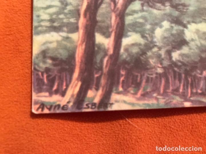 Postales: Antigua postal dibujo ayne esbert el castillo de bellver palma de mallorca estamperia Ram circulada - Foto 2 - 187619480