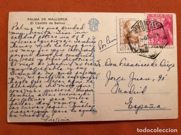 Postales: Antigua postal dibujo ayne esbert el castillo de bellver palma de mallorca estamperia Ram circulada - Foto 3 - 187619480