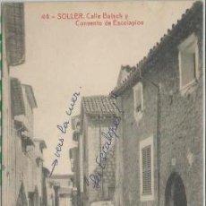 Postales: POSTAL SOLLER CALLE BATACH CONVENTO DE ESCOLAPIOS ED. LA ARTISTICA N° 44 MALLORCA. Lote 188486458