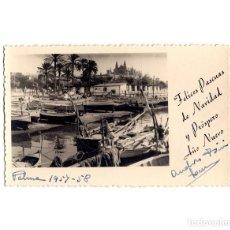 Postales: PALMA DE MALLORCA.- VISTA DEL PUERTO. FELICES PASCUAS DE NAVIDAD Y AÑO NUEVO. POSTAL FOTOGRÁFICA.. Lote 191462907